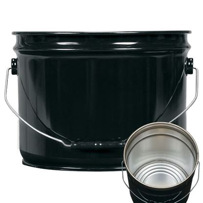 Picture of 3 Gallon Steel Black Open Head Nestable Pail w/ Rust Inhibitor Lining