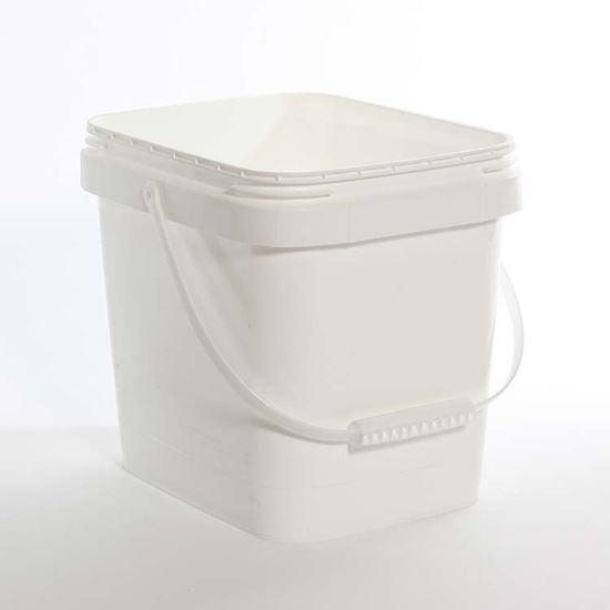 Picture of 3.5 Gallon HDPE White Open Head Nestable Pail w/ Plastic Handle
