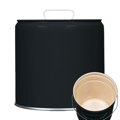 Picture of 3.5 Gallon Steel Black Tight Head Pail w/ Buff Epoxy Phenolic