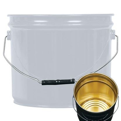 Picture of 3.5 Gallon Steel Gray Open Head Nestable Pail w/ Gold Phenolic Lining