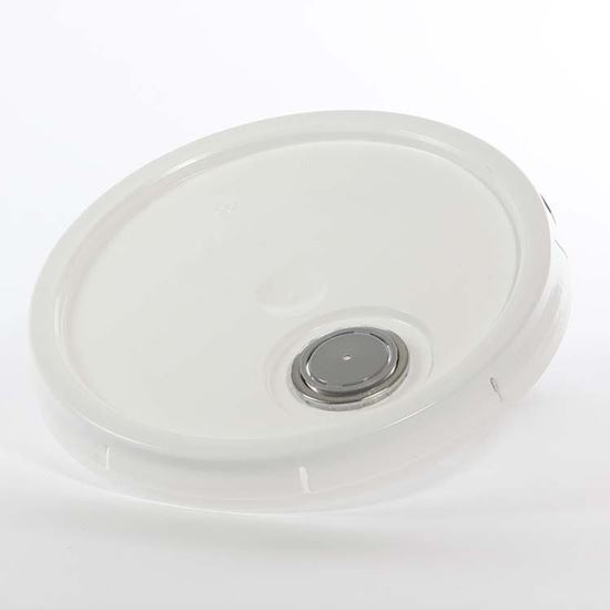 Picture of 3.5-6 Gallon HDPE White Cover w/ Tear Tab with Rieke Micro Porous