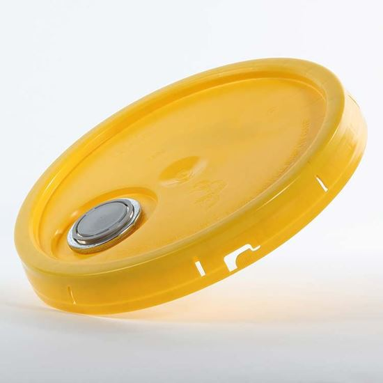 Picture of 3.5-6 Gallon HDPE Yellow Cover w/ Tear Tab with Rieke Prep