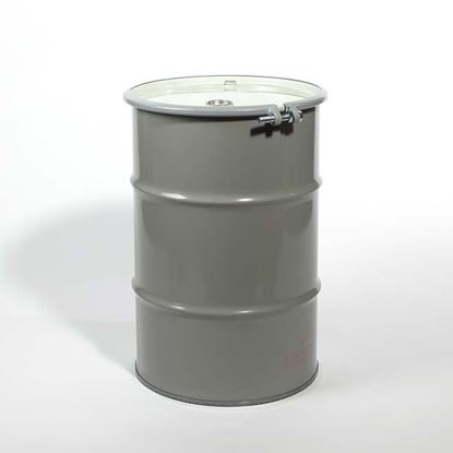 "Picture of 30 Gallon Open Head  Black Steel Drum with 2"" and 3/4"" with PE IRR Gasket Fittings"