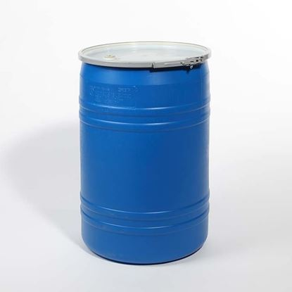 """Picture of 30 Gallon Open Head  Blue Plastic Drum with 3/4"""" EPDM Gasket Fittings"""
