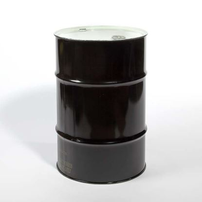 "Picture of 30 Gallon Tight Head  Black Steel Drum with 2"" and 3/4"" Nylon PE IRR Gasket Fittings"