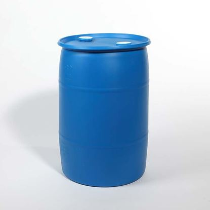"Picture of 30 Gallon Tight Head  Blue Plastic Drum with 2"" Buttress and 2"" NPT Fittings"