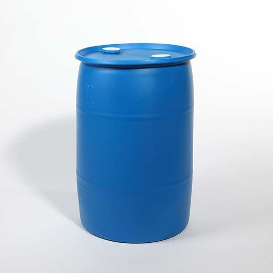 """Picture of 30 Gallon Tight Head  Blue Plastic Drum with 2"""" Buttress and 2"""" NPT Fittings"""