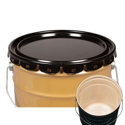 Picture of 5 Gallon Steel Black Lug Cover w/ Interior Buff Epoxy Phenolic and Flow in Gasket - UN