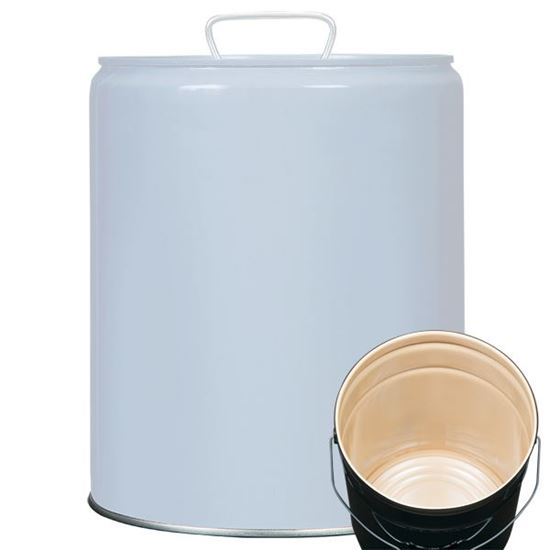 Picture of 5 Gallon Steel Gray Tight Head Pail w/ Buff Epoxy Lining