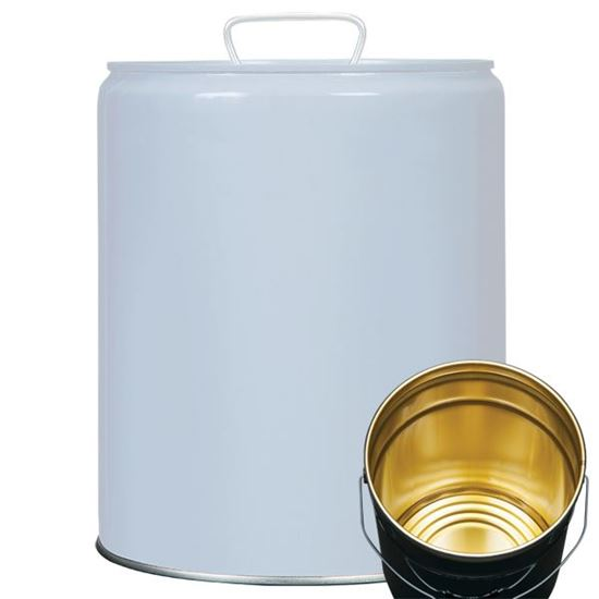 Picture of 5 Gallon Steel Gray Tight Head Pail w/ Gold Phenolic Lining