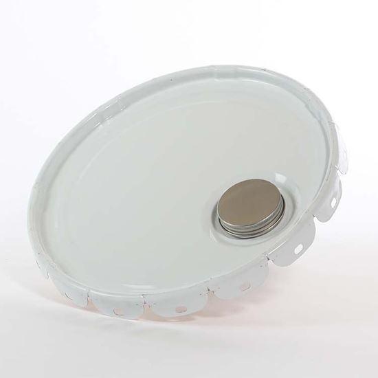 """Picture of 5 Gallon Steel White Lug Cover w/ Interior Buff Epoxy Phenolic, 2 1/4"""" Screw Cap and Spout - Non-UN"""