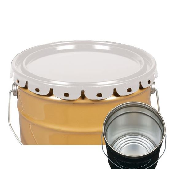 Picture of 5 Gallon Steel White Lug Cover w/ Interior Rust Inhibitor Lining - UN