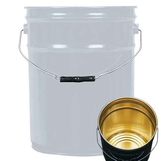 Picture of 5.3 Gallon Steel Gray Open Head Nestable Pail w/ Gold Phenolic Lining