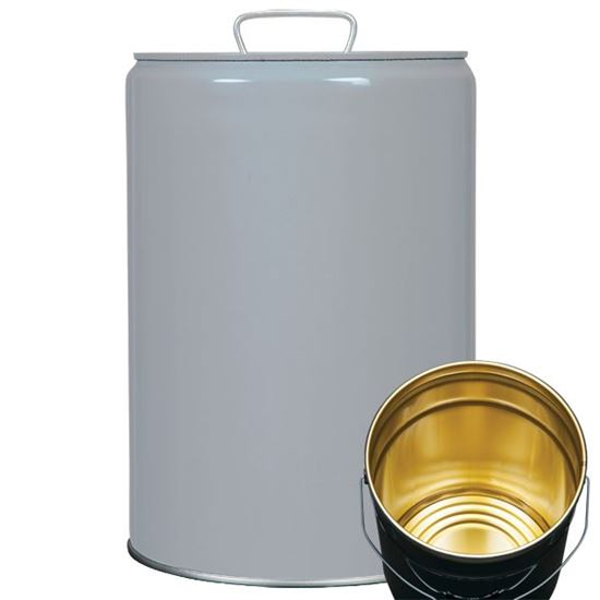 Picture of 5.5 Gallon Steel Gray Tight Head Pail w/ Gold Phenolic Lining