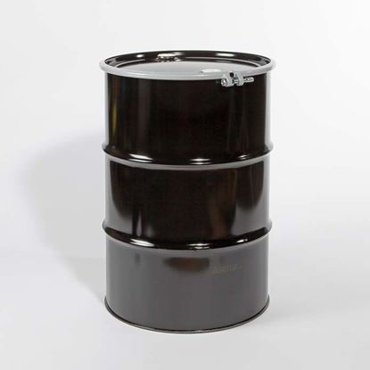 "Picture of 55 Gallon Open Head  Black Steel Drum with 2"" and 2"" Nylon Plugs Fittings"