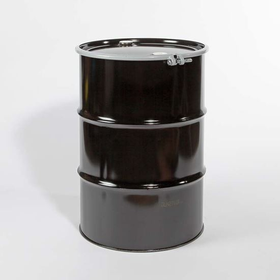 """Picture of 55 Gallon Open Head  Black Steel Drum with 2"""" and 2"""" Nylon Plugs Fittings"""
