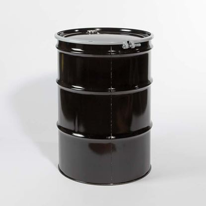 "Picture of 55 Gallon Open Head  Black Steel Drum with 2"" and 3/4"" Buna Gasket Fittings"