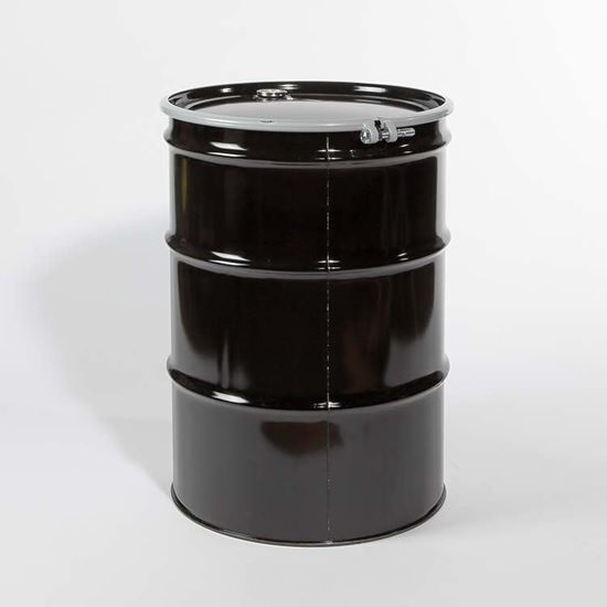 """Picture of 55 Gallon Open Head  Black Steel Drum with 2"""" and 3/4"""" Buna Gasket Fittings"""