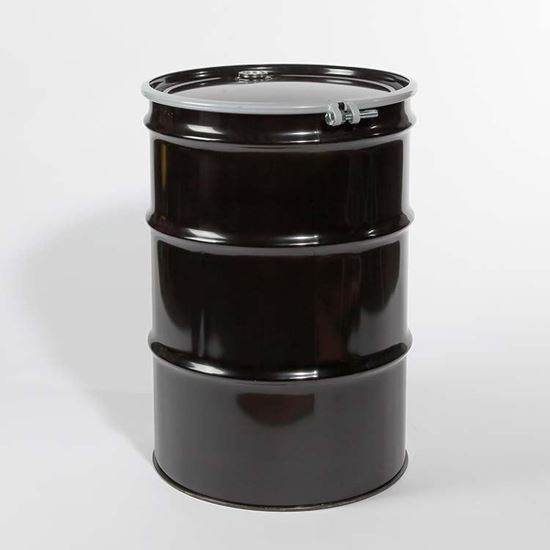 """Picture of 55 Gallon Open Head  Black Steel Drum with 2"""" and 3/4"""" PE IRR Gasket Fittings"""