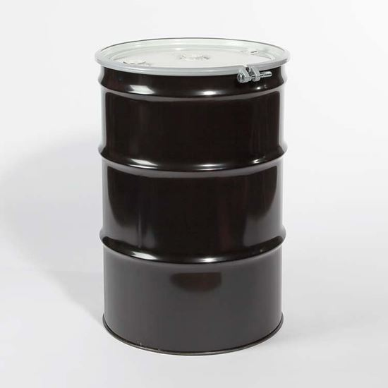 """Picture of 55 Gallon Open Head  Black Steel Drum with Two 2"""" and 3/4"""" PE IRR Gasket Fittings"""