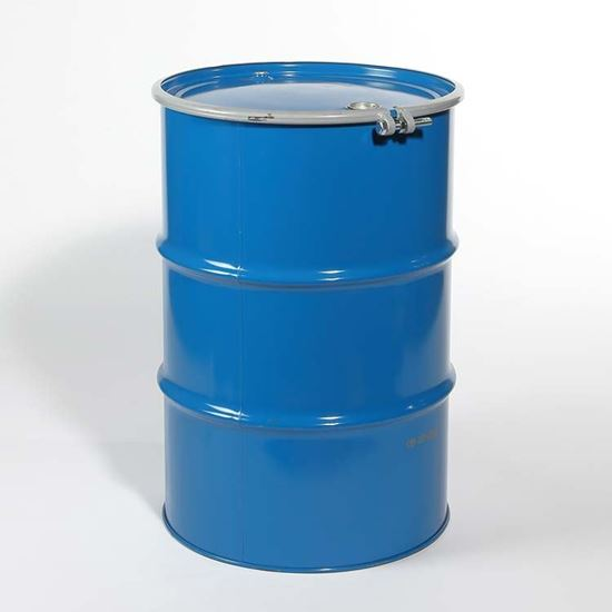 "Picture of 55 Gallon Open Head  Blue Steel Drum with 2"" and 3/4""  Fittings"