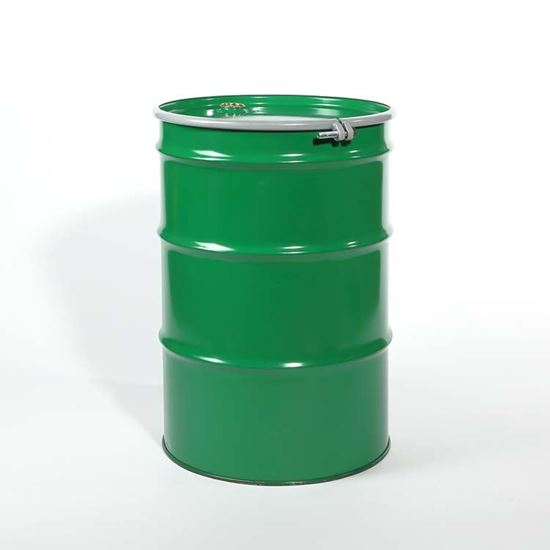 "Picture of 55 Gallon Open Head  Green Steel Drum with 2"" and 3/4"" PE IRR Gasket Fittings"