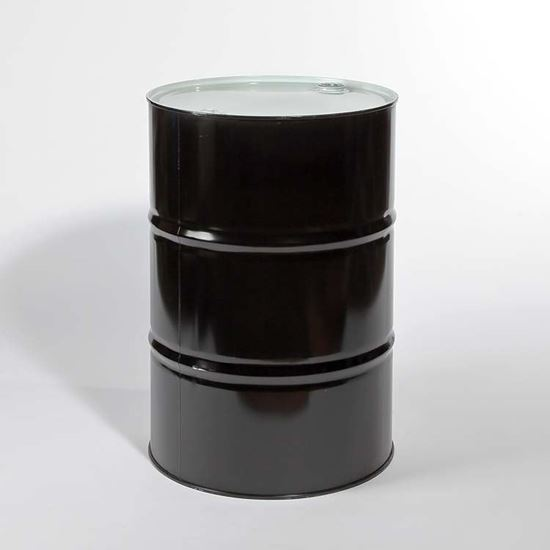 """Picture of 55 Gallon Tight Head  Black Steel Drum with 2"""" and 3/4"""" Buna Gasket Fittings"""