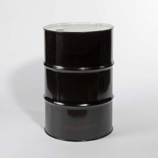 """Picture of 55 Gallon Tight Head  Black Steel Drum with 2"""" and 3/4"""" PE IRR Gasket Fittings"""
