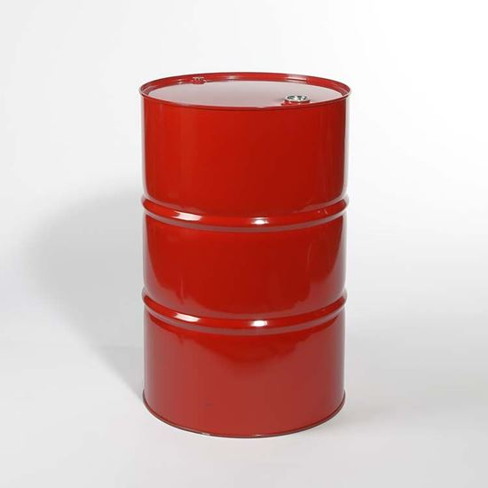 """Picture of 55 Gallon Tight Head  Mobile Red Steel Drum with 2"""" and 3/4"""" PE IRR Gasket Fittings"""