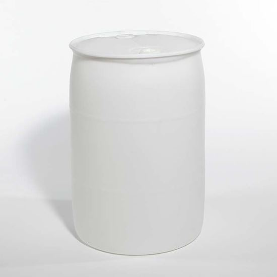"Picture of 55 Gallon Tight Head  Natural Plastic Drum with 2"" Buttress and 2"" NPS Fittings"