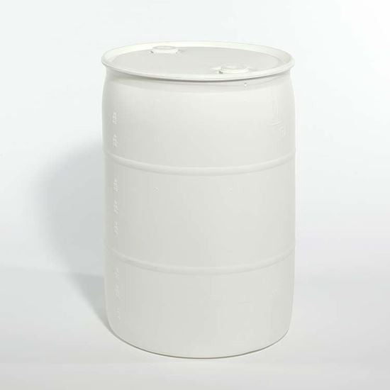 """Picture of 55 Gallon Tight Head  White Plastic Drum with 2"""" Buttress and 2"""" NPT Fittings"""