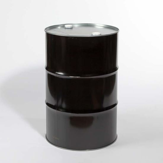 """Picture of 55 Gallon Tight Head Black Steel Drum with 2"""" and 2""""  Fittings"""