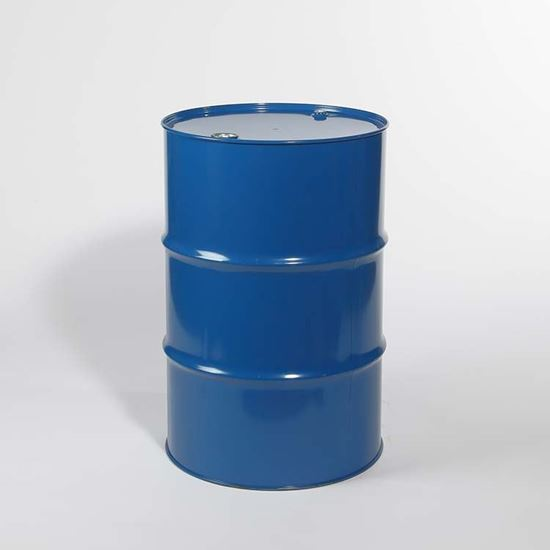 """Picture of 55 Gallon Tight Head Blue Steel Drum with 2"""" and 3/4"""" PE IRR Gasket Fittings"""