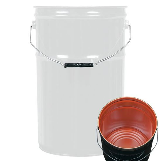 Picture of 6.5 Gallon Steel White Open Head Nestable Pail w/ Red Phenolic Lining