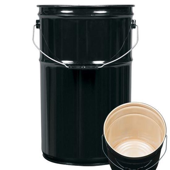 Picture of 7 Gallon Steel Black Open Head Nestable Pail w/ Buff Epoxy Phenolic