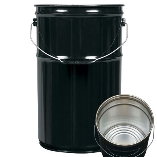 Picture of 7 Gallon Steel Black Open Head Nestable Pail w/ Rust Inhibitor Lining