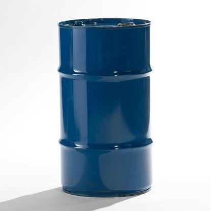 "Picture of 15 Gallon Tight Head  Blue Steel Drum with 2"" and 3/4"" PE IRR Gasket Fittings"