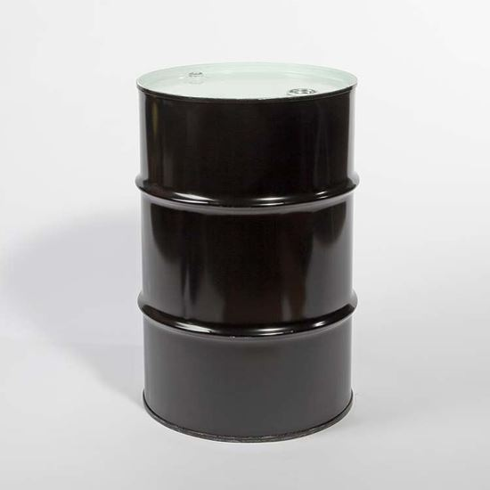 "Picture of 16 Gallon Tight Head  Black Steel Drum with 2"" and 3/4"" PE IRR Gasket Fittings"