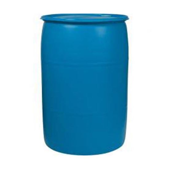 "Picture of 55 Gallon Tight Head  Blue Plastic Drum with 2"" Buttress and 2"" NPS EPDM Gasket Fittings"