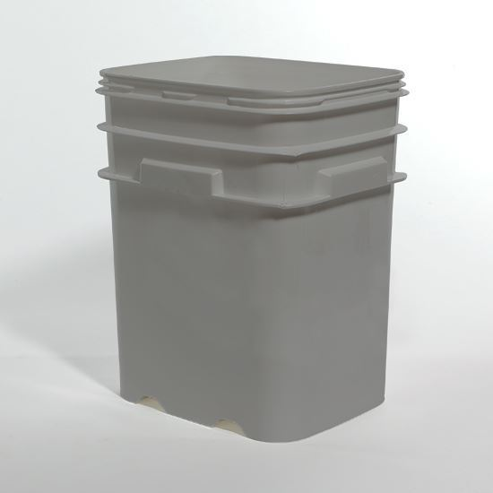 Picture of 5.3 Gallon HDPE Gray Open Head Nestable Pail w/ No Handle