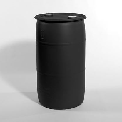 "Picture of 35 Gallon Tight Head  Black Plastic Drum with 2"" Buttress and 2"" NPT Fittings"