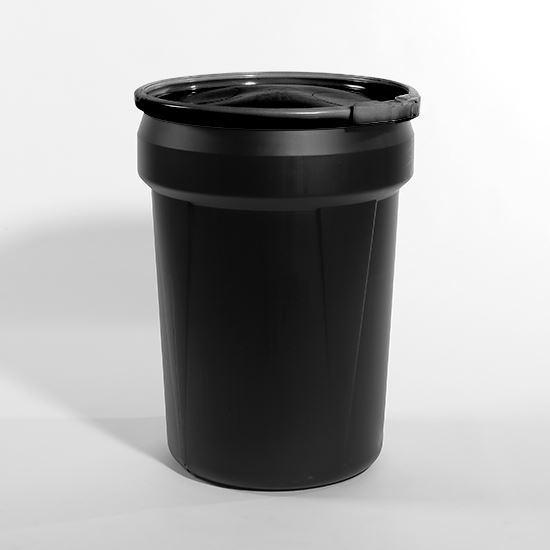 Picture of 30 Gallon Open Head Nestable Black Plastic Drum