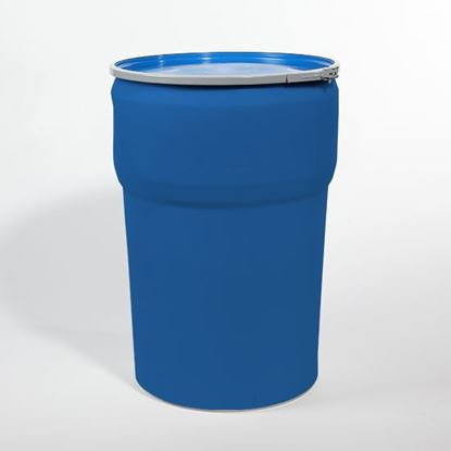 Picture of 48 Gallon Open Head Nestable Blue Plastic Drum
