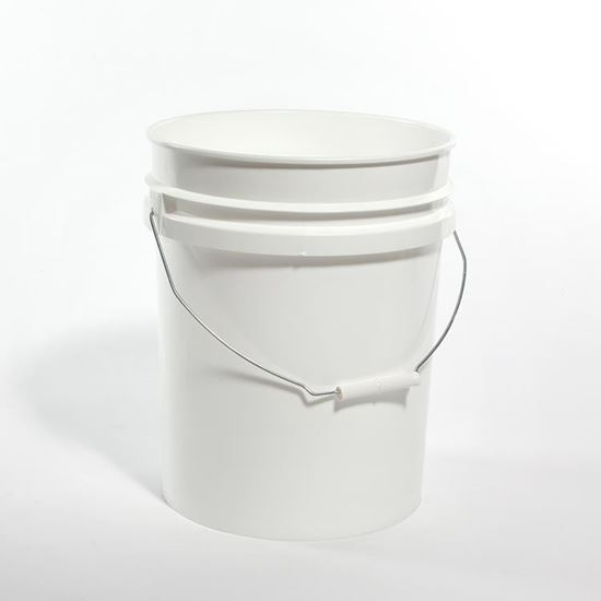 Picture of 5 Gallon HDPE White Open Head Nestable Pail w/ Gold CWL