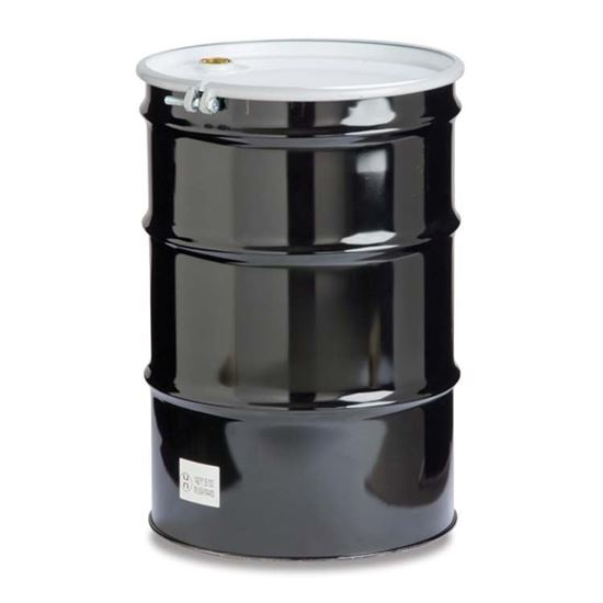 """Picture of 55 Gallon Tight Head Black Steel Drum with 2"""" and 3/4"""" Fittings"""