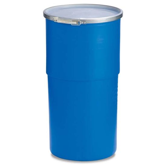 Picture of 15 Gallon Open Head Blue Plastic Drum w/ Natural Cover and Lever Lock Ring
