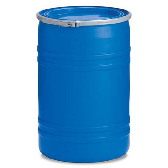 Picture of 30 Gallon Open Head Blue Plastic Drum w/ Lever Lock Ring