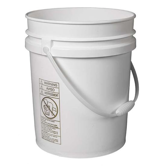 Picture of 5 Gallon HDPE White Open Head Nestable Pail w/ Plastic Bail and Gold Child Warning Label