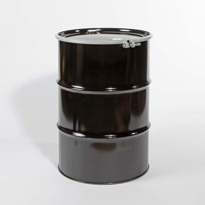 "Picture of 55 Gallon Open Head  Black Steel Drum with 2"" and 2"" Nylon PE IRR Gasket Fittings"
