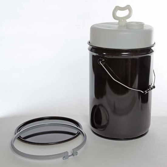 Picture of 6 Gallon Steel Black Delpak w/ Rust Inhibitor Lining, Bolt Ring, and 5 Gallon HD Liner